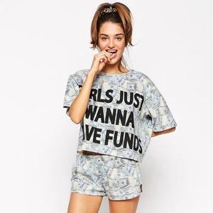 Girls Just Wanna Have Funds Crop Tee & Short Set